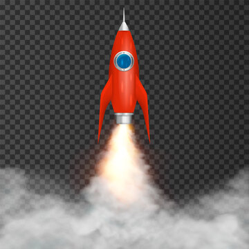 Rocket launch take off. Digital rocket isolated on transparent background. Vector illustration.