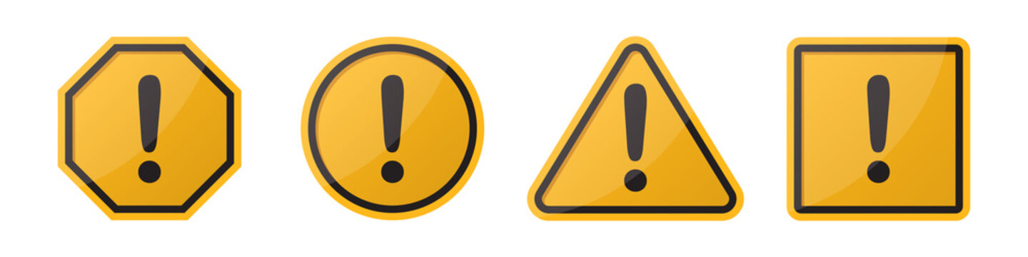 Set of hazard attention sign with exclamation mark in different shapes in orange