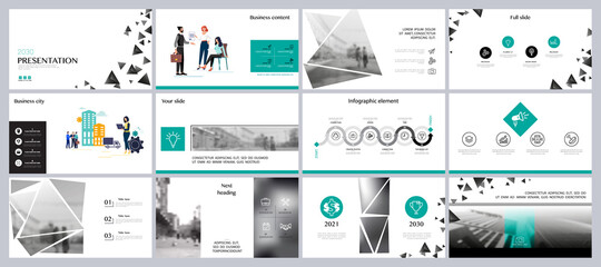 Business city. Business presentation, infographic green elements design template, background. Buildings, people buying real estate. Teamwork of people in the city businessman. Use in flyers, marketing