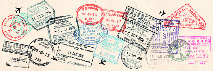 Passport visas stamps on sepia textured, vintage travel collage background