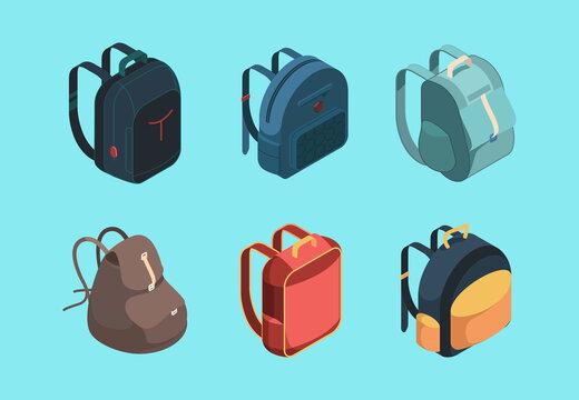 Bag pack isometric. Schoolbag for kids education symbols or baggage for travellers vector collection. Schoolbag and backpack, luggage haversack, notebook knapsack illustration