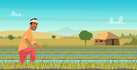 Indian agriculture working. Farmer harvesting in field asia vector background in cartoon style. Farm agriculture, worker indian farming illustration