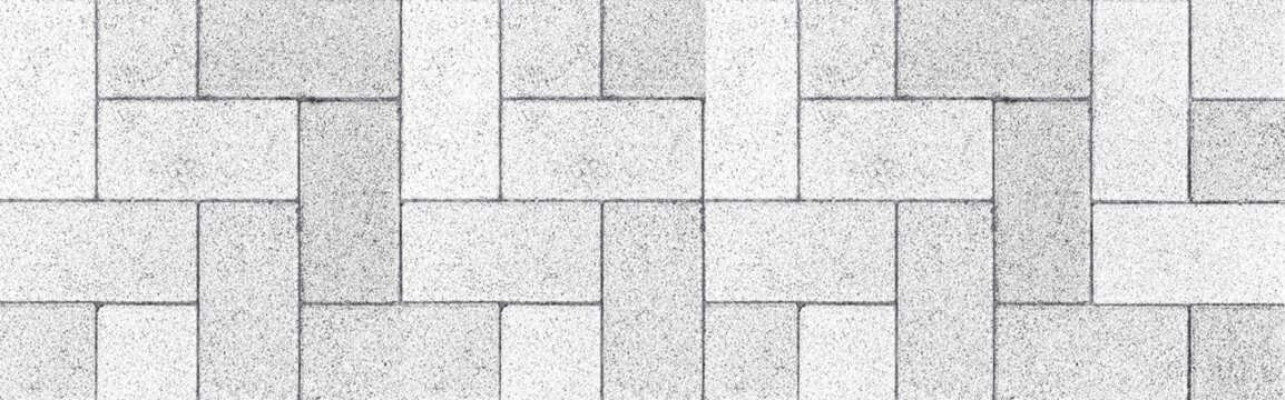 Panorama of Vintage white cobblestone pavement pattern and background