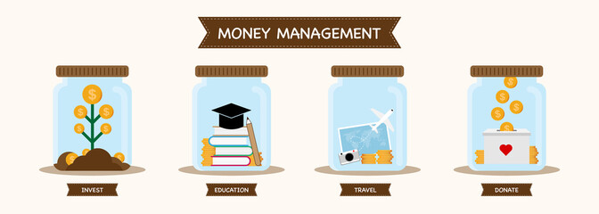 Infographic personal financial money management concept. Vector illustration