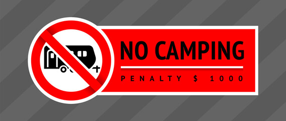 Prohibition sign No Camping, trendy label, ready to print