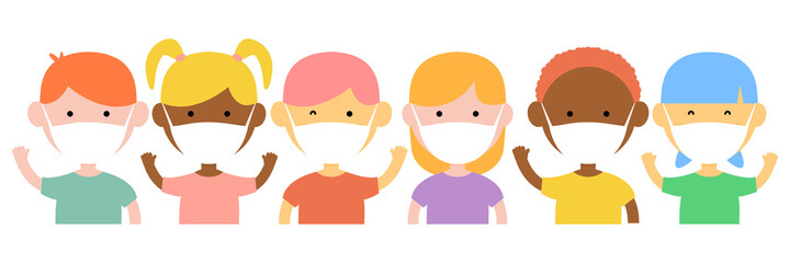 Diverse multicultural children set wearing in protective medical masks on quarantine. Disease, flu, contaminated air, world pollution, pandemic concept. Vector illustration in a flat style isolated