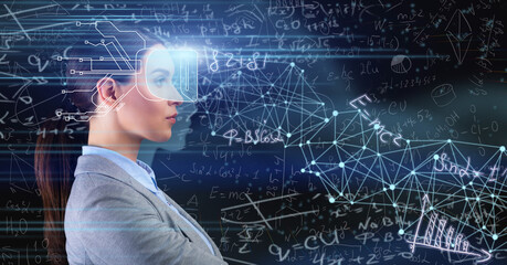 Lady With Implanted Chip Standing Over Blue Background With Formulas