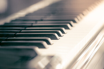 Piano and keyboard piano, Music instrument. Black and white key. side view of instrument musical...