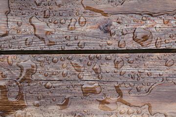 Obraz Drewniane deski tarasowe pokryte wodą z deszczu. - fototapety do salonu