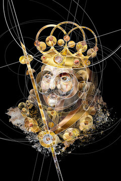 Abstract collage portrait George of Kunstat and Podebrady, King of Bohemia