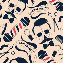 Seamless vector pattern with barber shop supplies