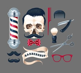 Big vector set of barber shop illustrations