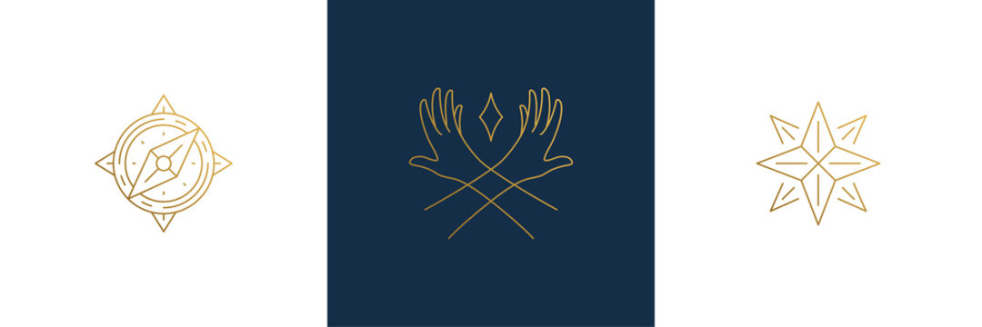 Vector line feminine decoration design elements set - star and female gesture hands illustrations minimal linear style