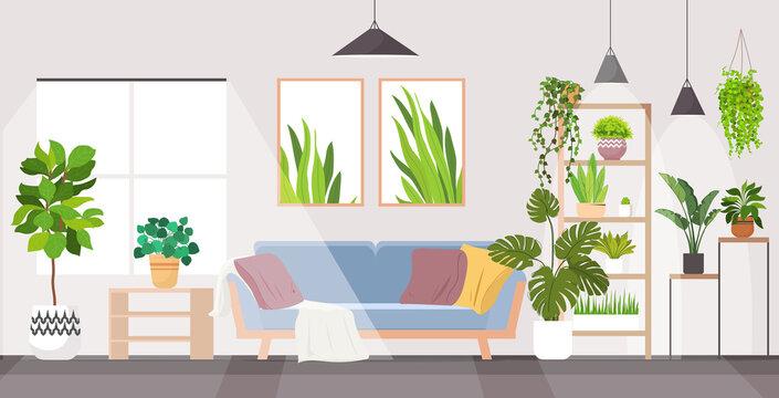 modern living room interior home apartment with houseplants horizontal vector illustration