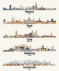 Fototapete - Austria cities skylines vector illustrations set