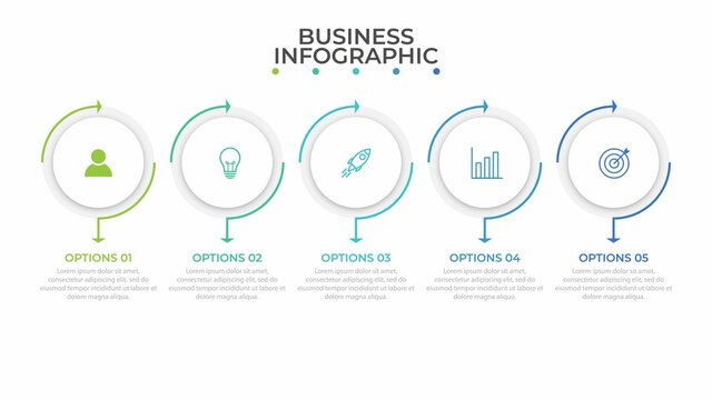 Business process infographic template. Thin line design with numbers 5 options or steps. Vector illustration graphic design