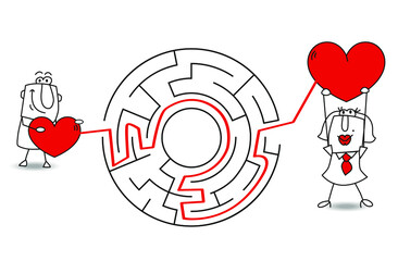 Karen the business woman and Joe fell in love in love ! The maze is a metaphor because find love is sometimes not very easy