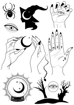 Witchy vector set  You can get here illustration set and isolated cliparts. Have fun!