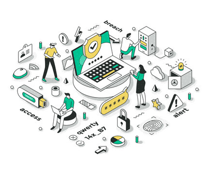 Strong Password & Security Isometric Concept