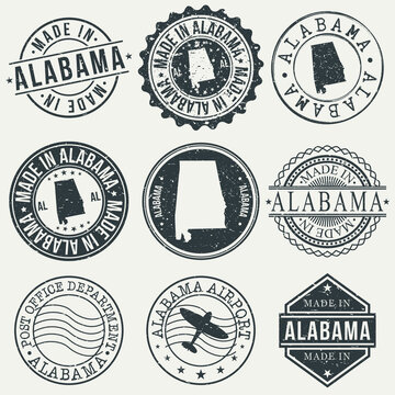 Alabama Set of Stamps. Travel Stamp. Made In Product. Design Seals Old Style Insignia.
