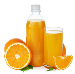 Bottle of fresh orange juice isolated on white