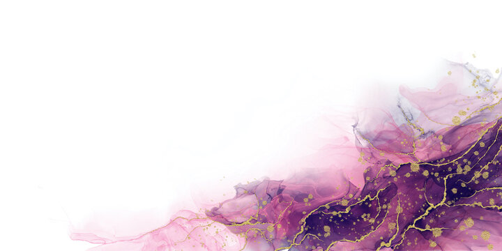 Abstract liquid fluid art painting background alcohol ink technique purple and gold with text space for banner, background in luxury style.