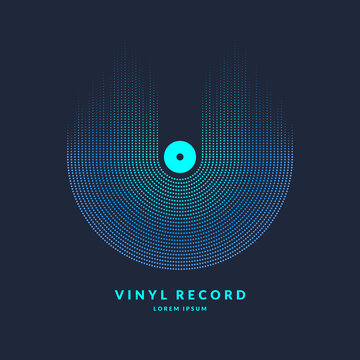 Vinyl record. Poster of the sound wave. Vector illustratio