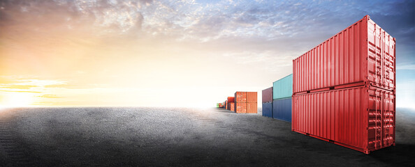 Containers box from cargo freight ship in dockyard with copy space and empty ground floor for design cover web, logistics import export business concept