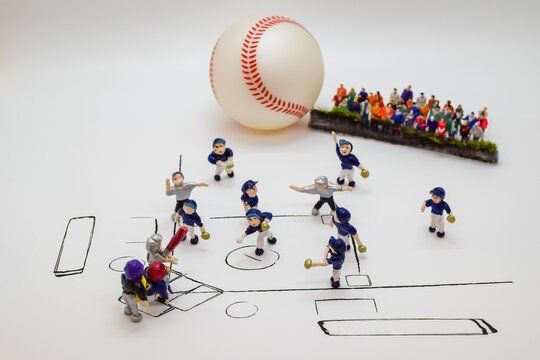 """Saitama/Japan August 31, 2020: Miniature doll scene of  Baseball game ..."""