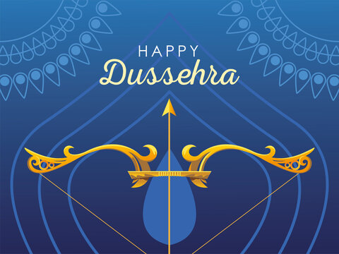 happy Dussehra label with golden bow and arrow