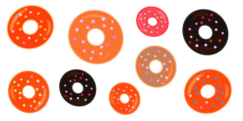 set of colored donuts with sugar grains vector illustration
