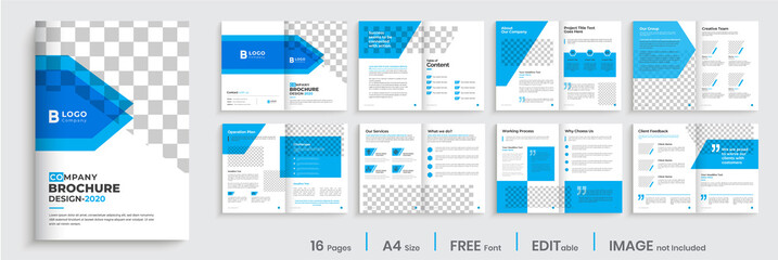 Brochure template design, blue modern company profile template layout, 16 pages business brochure template.
