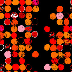 seamless pattern background, with circles/dots, paint strokes and splashes, on black