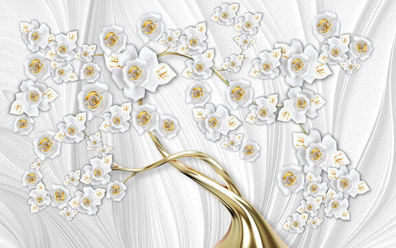 3d mural wallpaper abstract  gray background  tree with golden stem and flowers  . will visually expand the space in a small room, bring more light and become an accent in the interior