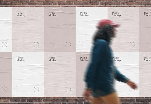 Multiple Outdoor Weathered Paper Poster Mockup