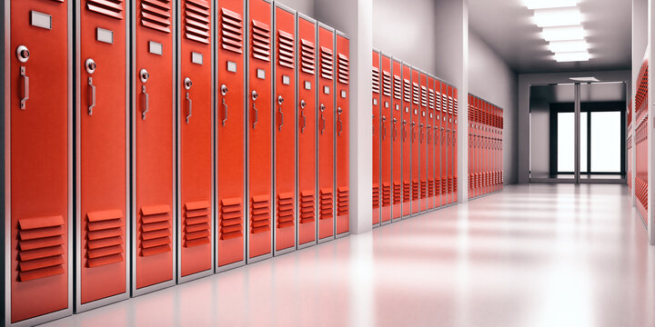 High school lobby with red color lockers, perspective view. Fitness Gym, sports club hallway. 3d illustration