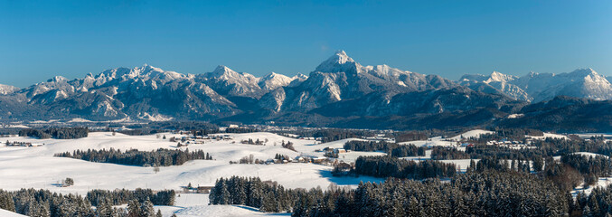 beautiful panoramic landscape in Bavaria in winter