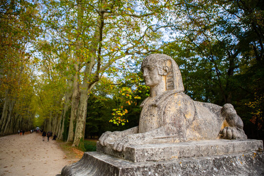The statue in Chateau de Chenonceau, in autumn time.
