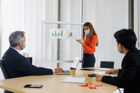 Asian businesswoman presenting sales record and asking question her team All wearing masks and keep distance for good health and hygiene at workplace  during Covid 19