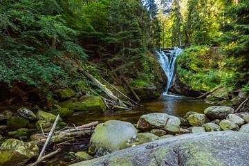 Wodospad potok strumień rzeka las karkonoski park narodowy karkonosze