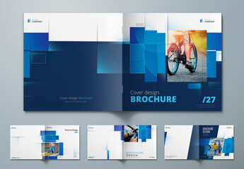 Square Report Cover Layout Set with Blue Dynamic Elements