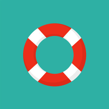 Life preserver buoy ring help icon. Lifebuoy saver raft swim vector jacket