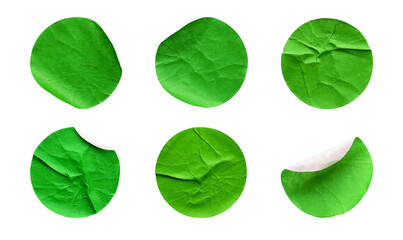 Blank green round adhesive paper sticker label set collection isolated on white background