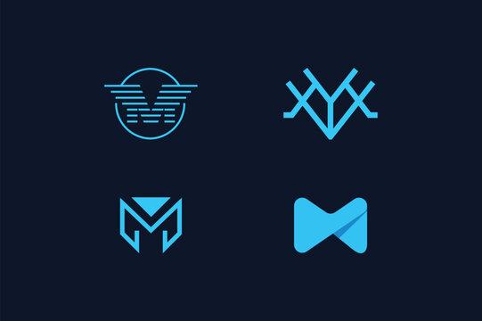 Letter m logo bundle vector