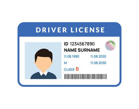 Driver licence icon. Driver id card vector license. Drive identity photo identification