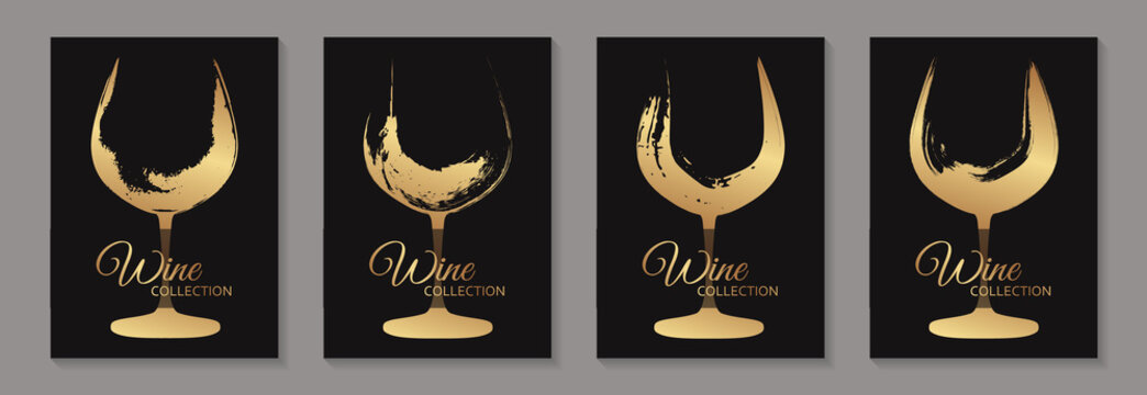 Modern abstract luxury card templates for wine tasting invitation or poster or banner or presentation with golden glasses in grunge style on a black background.