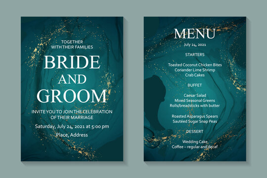 Modern abstract luxury wedding invitation design or card templates for birthday greeting or certificate or cover with turquoise watercolor waves or fluid art in alcohol ink style with gold.