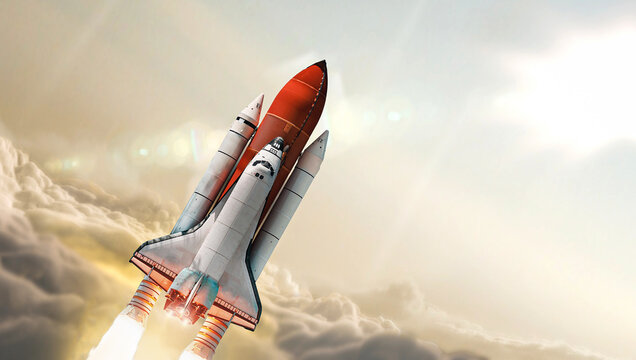 Space shuttle in the clouds. Launch of spaceship from Earth planet. Space wallpaper. Elements of this image furnished by NASA