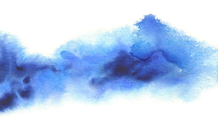 Abstract color watercolor ink blot horizontal painting background. Isolated on white.