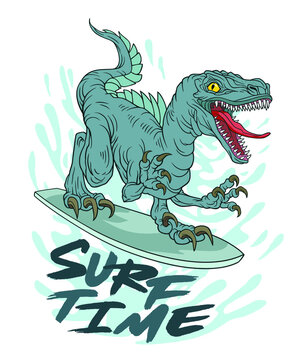 Dinosaur on a Surfboard. Surfing vector. For t-shirt prints and other uses. Vector illustration on white